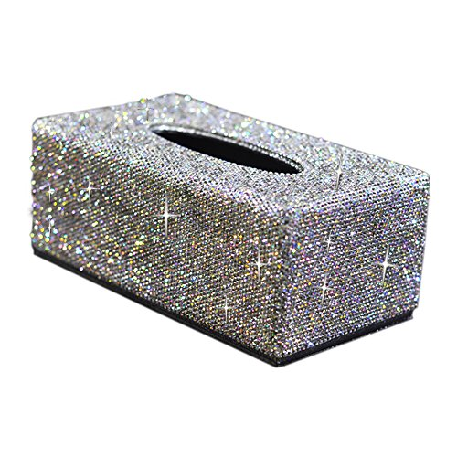 (Rectangular PU Leather Facial Tissue Box Bling Bling Napkin Holder for Home Office, Car Automotive Decoration(Silver))