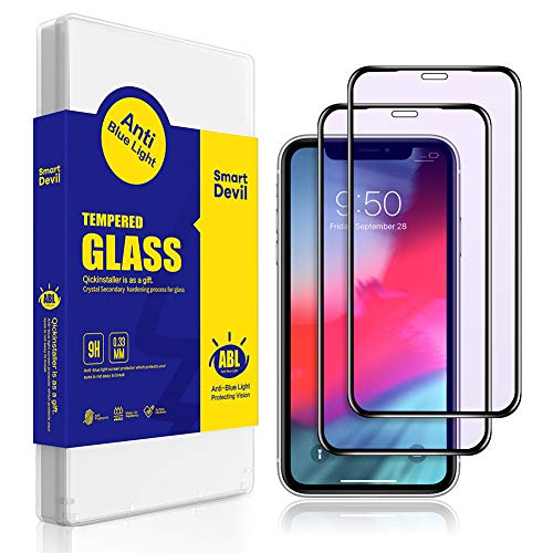SmartDevil Anti-Blue Light Screen Protector for iPhone Xr (6.1) [Edge to Edge Coverage] [Eye Protect] [Anti-Scratch] [Easy Install] 3D Full Coverage Tempered Glass [2-Pack]