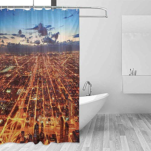 (Xlcsomf Printed Shower Curtain City Chicago Downtown Skyline Aerial Panorama View at Dusk with Skyscrapers Easy to Care Orange Dark Orange Blue,W72 xL72)