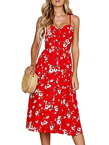SWQZVT Women's Dress Summer Spaghetti Strap Sundress Casual Floral Midi Backless Button Up Swing Dresses with Pockets Red Floral S