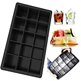 kitchenaid 15 ice machine - 15 Cavity Cube Black Silicone Ice Molds Maker Bar Party Square Perfect Tray Mould Tool