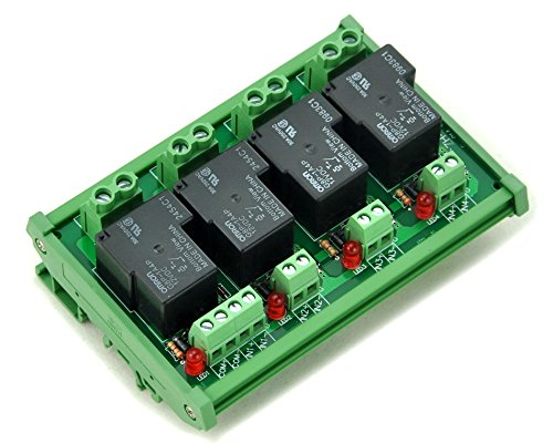ELECTRONICS-SALON DIN Rail Mount Coil 12V Passive 4 Channel SPST-NO 30A 30Amp Power Relay Module.