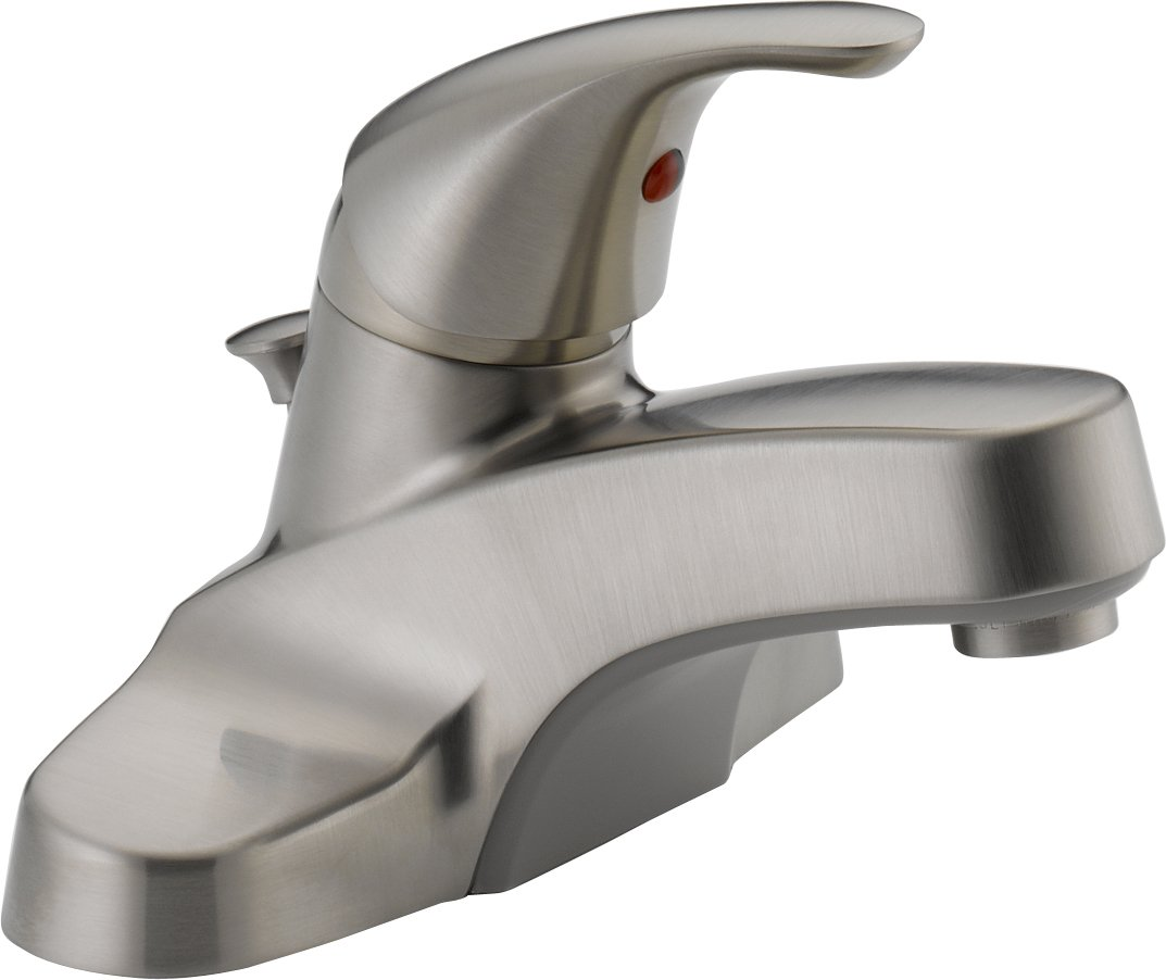 Peerless P136LF-BN Classic Single Handle Bathroom Faucet, Brushed ...