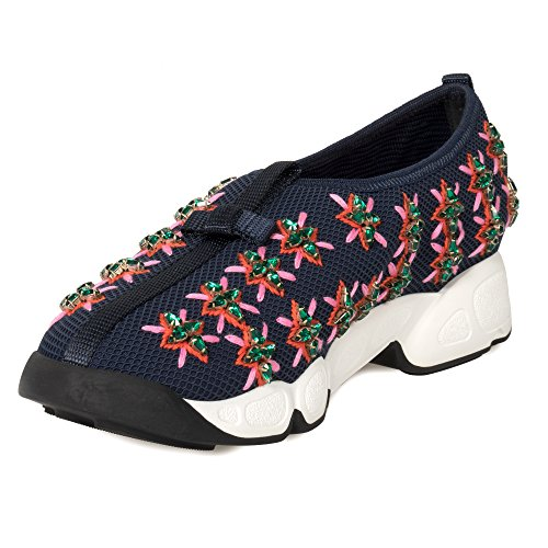 Dior Christian Blue and Rose Flower Fusion Sneakers