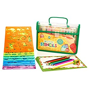 Stencils and Drawing Set for Kids by Creativ' Craft, Loved By Parents Golden Award, Travel Activity and Educational Toy to Enhance Children Creativity, Ideal Gift for Boys and Girls, Toddler to Teen