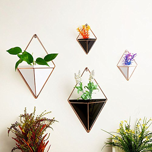 Hotab 2pcs Hanging Vases Geometric Wall Decoration Container for Succulent Plants Mini Cactus