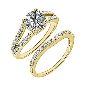 1.23 Carat G-H I2-I3 Diamond Engagement Wedding Anniversary Halo Bridal Ring Set 14K Yellow Gold