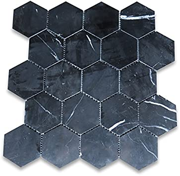 Stone Center Online Nero Marquina Black Marble 3 Hexagon Mosaic