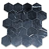 #10: Nero Marquina Black Marble Hexagon Mosaic Tile 3 inch Polished