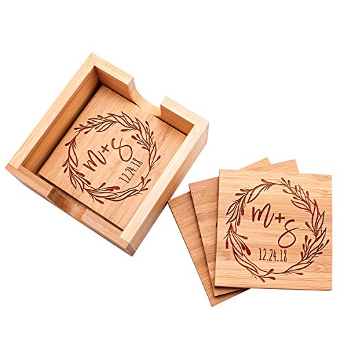 - Personalized 4 Coasters Set with Holder Drink Coaster for Beer Cocktail Coffee Tea 4x4 Bamboo Wood Monogram Coaster Kit Customizable with Name Date Personalized Gifts Women Men Wedding Favors #7