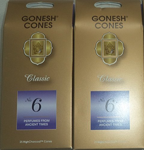 - Gonesh Incense Cones #6 Perfumes of Ancient Times - Set of 2 Packs of 25, Total 50