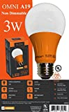 Sleeklighting LED A19 Orange Light Bulb, 120 Volt - 3-Watt Energy Saving - Medium Base - UL-Listed LED Bulb - Lasts More Than 20,000 Hours 2pack