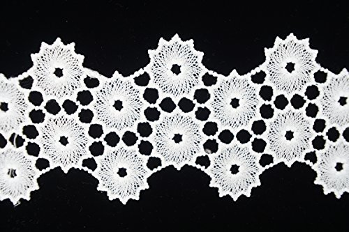 White Lace Ribbon with Bloom Pattern for Wedding Party, Cloth Design, DIY Sewing with 3-1/2 Inch by 5 Yard by Cozy