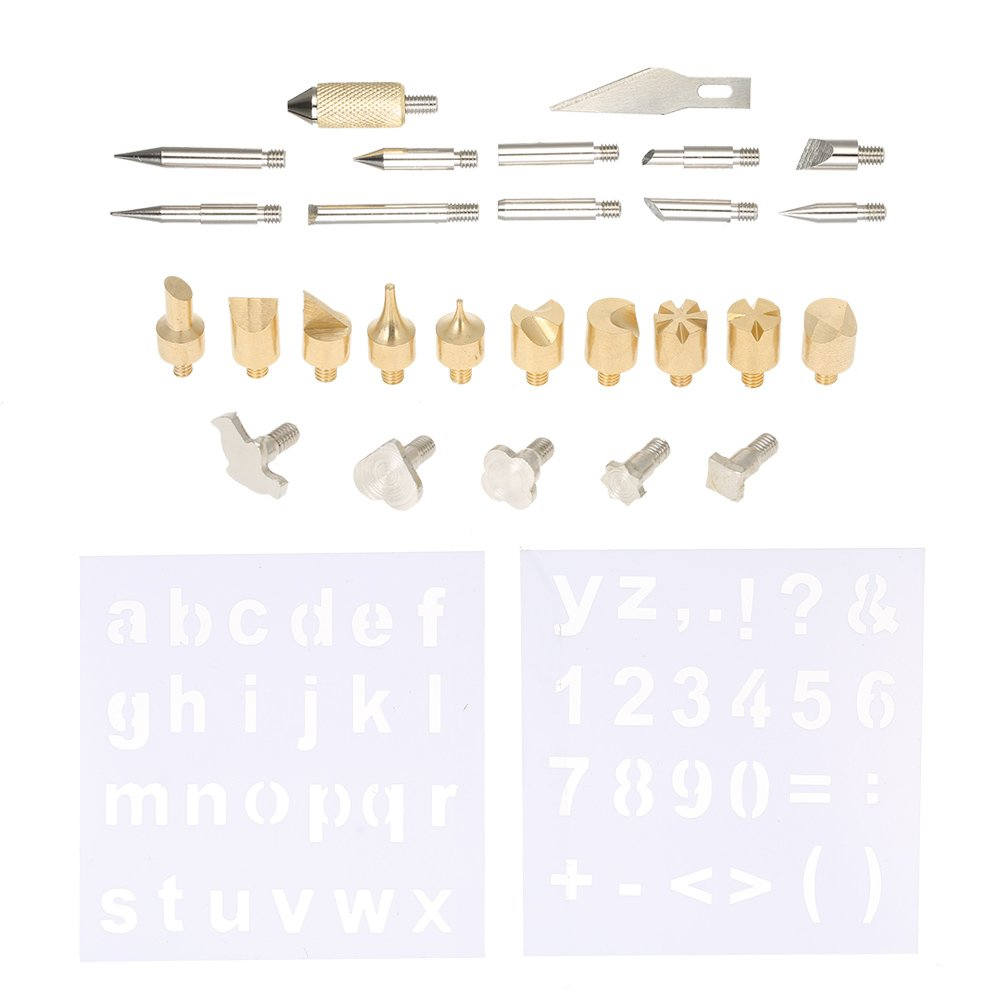 KKmoon 28pcs Wood Burning Soldering Tips Set Replacement Wood Carving Tools Accessories Kit with Hot Knife Blade Stencils