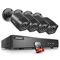 ANNKE 5-in-1 4CH 720P DVR with (4) 720P HD Weatherproof Indoor/Outdoor Cameras with IR-cut Night Vision LEDs, Free APP, Remote Access, 1TB HDD Included