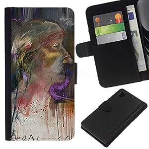 All Phone Most Case / Oferta Especial Cáscara Funda de cuero Monedero Cubierta de proteccion Caso / Wallet Case for Sony Xperia Z1 L39 // Woman Portrait Painting Watercolor