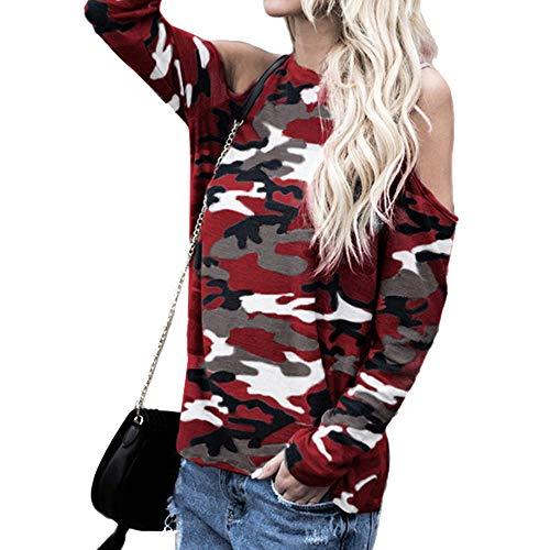 Femme T Shirt Sweater Epaule Sexy laamei D Camouflage A8wZAq