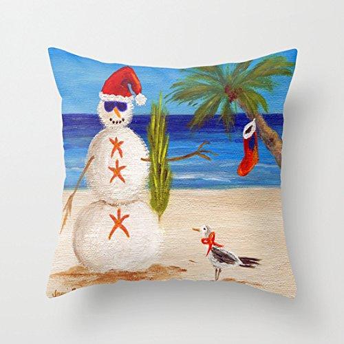 Navidad el hombre de arena funda de almohada sintética ...