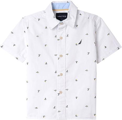 Nautica Boys Short Sleeve Printed Woven Shirt, Escalona White, 7 ...