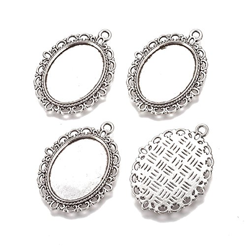 Pandahall 10pcs Zinc Alloy Pendant Settings for Magnify Glass Cabochon & Rhinestone Oval Bezel Charms Tray for Jewelry Makings Antique Silver Lead Free & Cadmium Free & Nickel Free Tray: 25x18mm
