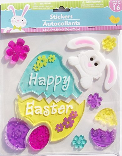 unny, and Flowers Gel Window Clings - 11 Piece (Easter Window)