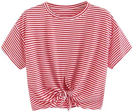 Meikosks Women`s Front Knotted Short T-Shirt Stripe Printed Tops Summer Short Sleeve Blouses / Meikosks Women`s Front Knotted Short T-Shirt Stripe Printed Tops Summer Short Sleeve Blouses