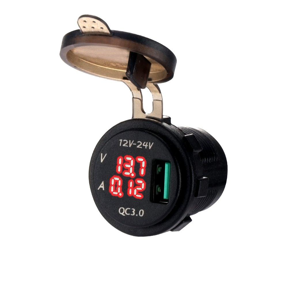 Konesky QC 3.0 Chargeur de Voiture, 5V / 3A USB Socket Charger IP68 é tanche Car USB Socket Outlet avec Affichage numé rique LED pour Voiture, Bateaux et Marine, Moto, Camion, SUV, UTV