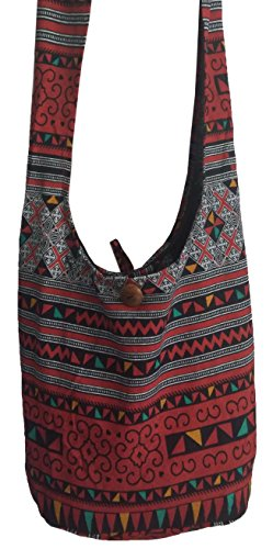 Sling Zip Bag Cotton Purse Hobo Red BELLEZAS Hippie Crossbody Black Shoulder Handmade Bag Print EFIfq