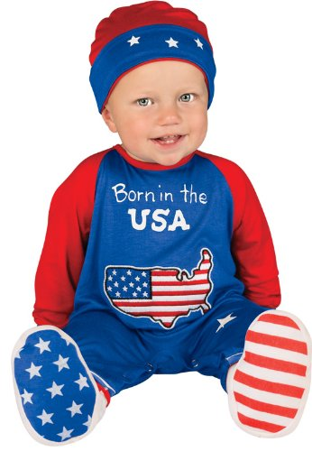 Size 0 Halloween Costumes (Rubie's Costume Baby's First Halloween Pint Size Patriot One-Piece Printed Jumper Hat and Booties, Multicolor, 0-6 Months)
