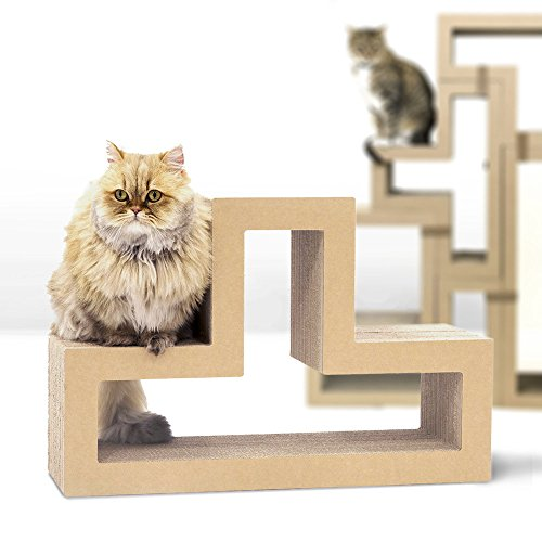 KATRIS T-Shape Modular Cat Scratcher Block | Multi-Functional Durable | Cat Furniture | Cat Tree Condo | Original Kraft