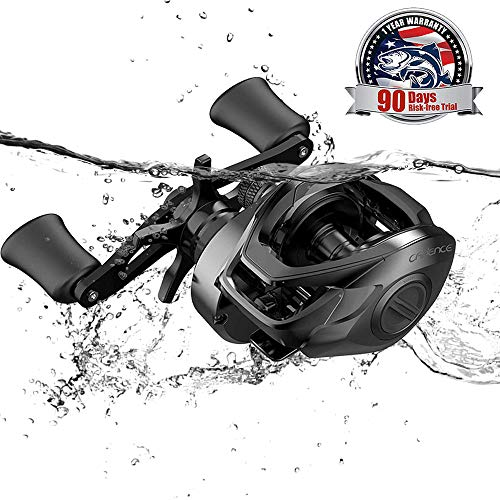 Cadence CB5 Baitcasting Reels Lightweight Graphite Frame Fishing Reels with 8 Corrosion Resistant Bearings Baitcaster Reels Carbon Fiber Drag Baitcast Reels with 6.6:1 Gear Ratio Casting ()