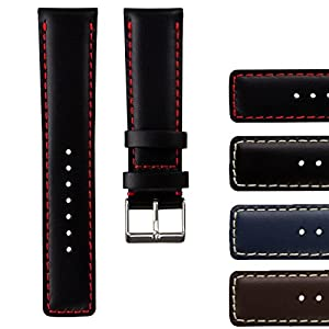 Geckota Genuine Leather Pilot Watch Band, Padded with Brushed Buckle