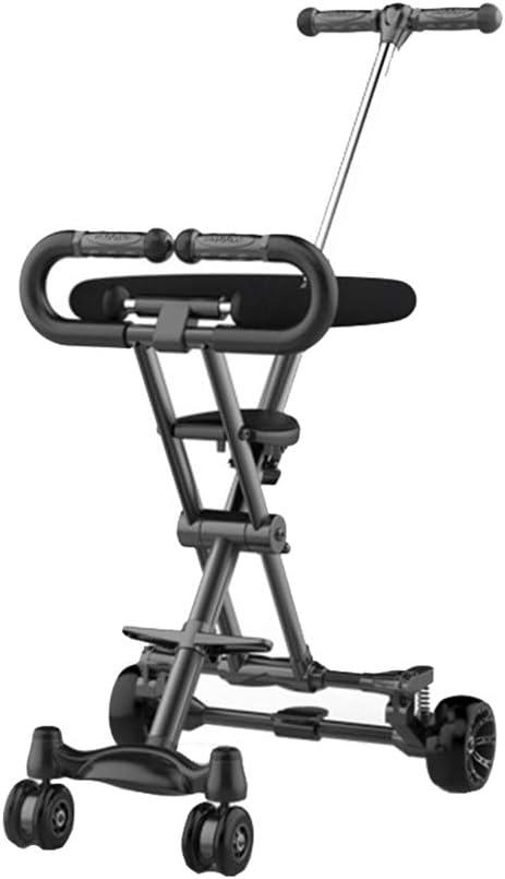 HYDDG Triciclos Plegable Niñito Triciclo con, Ligero Paseante para Viajar/Avión, Edad 1-6 Años Antiguo Ligero Fácil Manejo para Viajar - Negro