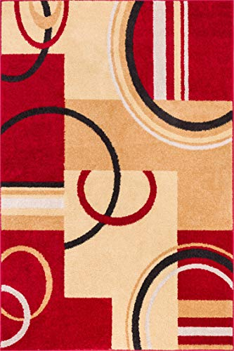 Beige Modern Rug - Well Woven Metro Shapes Red & Beige Modern Geometric Boxes & Lines Pattern 5' x 7' Area Rug Soft Shed Free Easy to Clean Stain Resistant