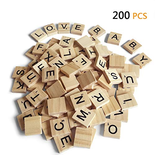200PCS Scrabble Letters for Crafts - Wood Scrabble Tiles-DIY Wood Gift Decoration - Making Alphabet Coasters and Scrabble Crossword Game (Scrabble Letters For Crafts)