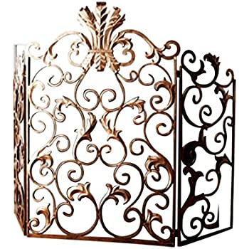 Amazon Com Ornate Gold Acanthus Scroll Iron Fireplace Screen Home