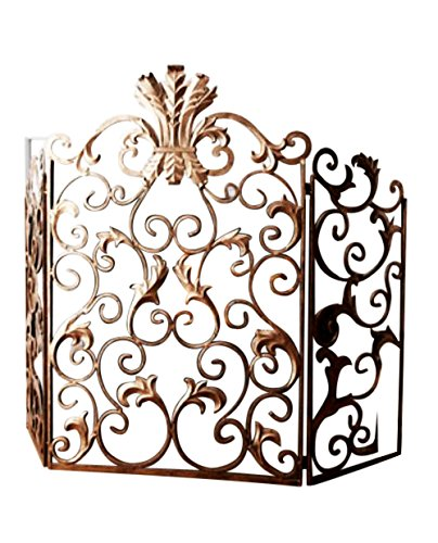 Scroll Design Fireplace Screen (Ornate Gold Acanthus Scroll Iron Fireplace Screen)