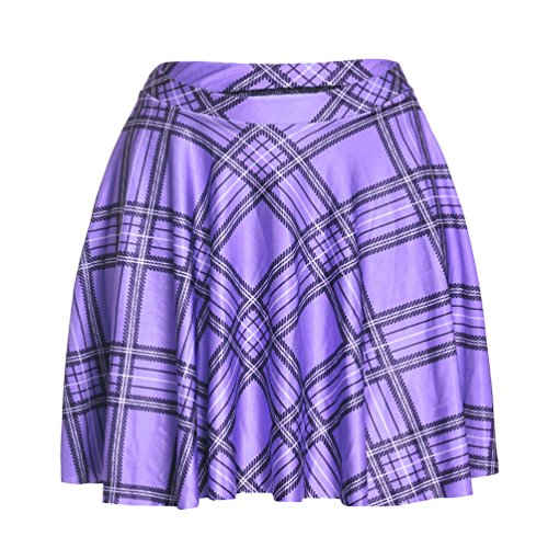 TOFLY Plaid Skirt - Women Stretchy Printed Pleated Skater Mini Skirts Plus Size Purple (Purple Plaid Skirt)