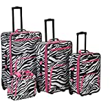OTSK Four Piece Light Pink Lightweight Wheeled Briefcase, Zebra Pattern, Black, Nylon Upright Luggage Set, Vibrant White, Telescoping Handle Easy Carry, Inline Skate Wheels