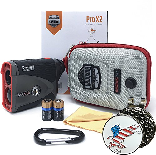 Bushnell Pro X2 Golf Laser Rangefinder GIFT BUNDLE | Includes Golf Rangefinder (Slope & Non-Slope Function) with Carrying Case(Clip included), Custom Ball Marker Hat Clip Set and Two (2) CR2 Batteries by Bushnell