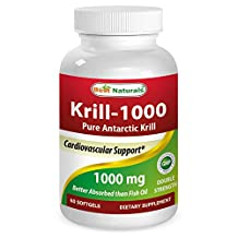 KRILL OIL 1000mg -- Double Strength -- Contains High Concetration of Astaxanthin - Higher in Omega 3 than Fish Oil - Great for Maintaining Cardiovascular Health* - Supports Brain Health* - Immune... (60 Softgels)
