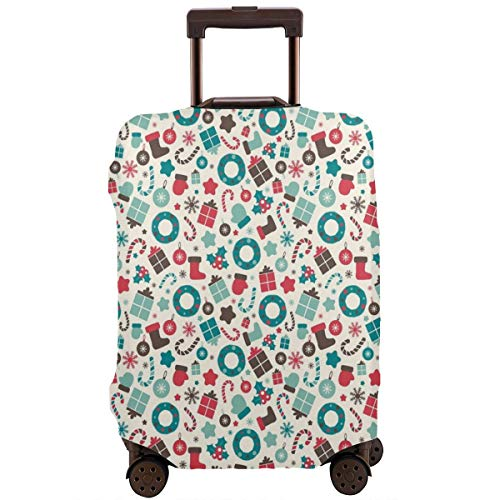 Travel Luggage Cover,Retro Style Traditional New Year Party Symbols Holly Wreath Socks Suitcase Protector