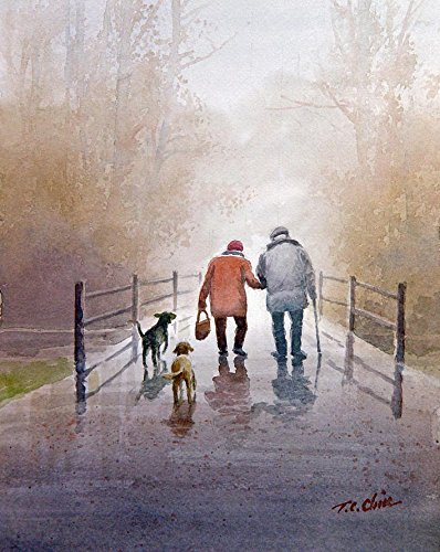 A couple and their loyal Dog Friends - print of Watercolor Painting - Nature, Trees, Peaceful Gifts, Gift for Ladies