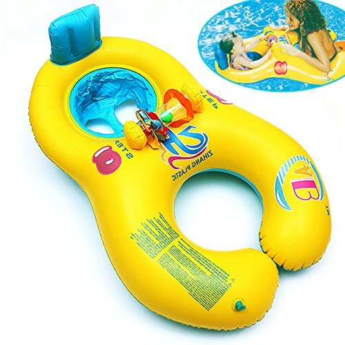 Price comparison product image Dual Person Kids Baby and Mommy Inflatable Swim Boat Float Ring Tube Water Seat
