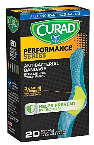 Curad CUR5020 Performance Series Antibacterial Bandage, 1'' x 3.25'', 6 Colors (Pack of 480) by Curad