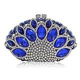 Flada Women Gemstone Handbag Rhinestones Sector Shape Wedding Evening Clutch Purse Royal Blue