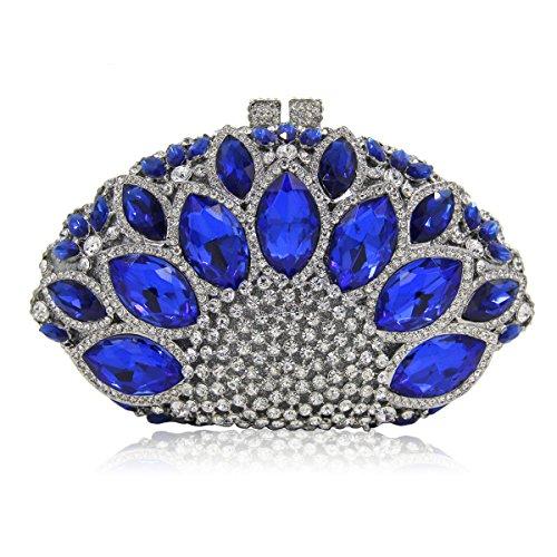 Flada Women Gemstone Handbag Rhinestones Sector Shape Wedding Evening Clutch Purse Royal Blue by Flada