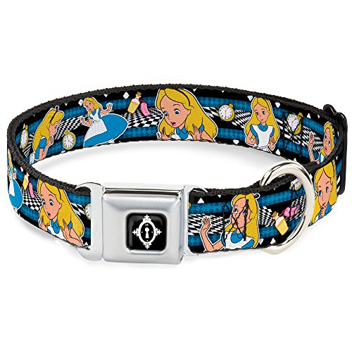 Dog Collar Seatbelt Buckle Alice in Wonderland Poses Clock Bottle Black White Blues 18 to 32 Inches 1.5 Inch Wide]()