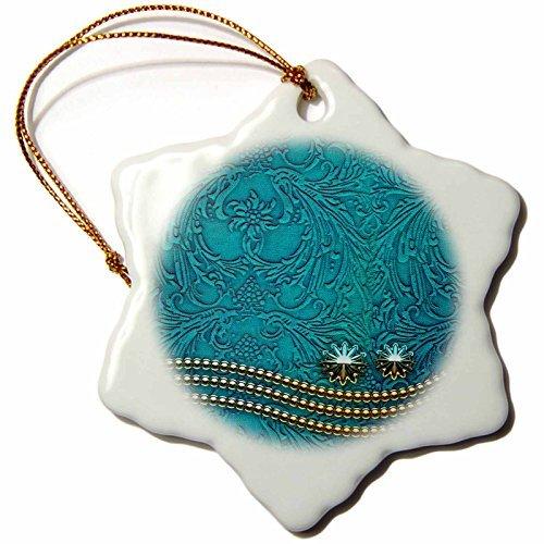 - OneMtoss Heike K ;hnen Design Decorative Decorative Design with Pearl Necklace on Vintage Background Snowflake Porcelain Ornament