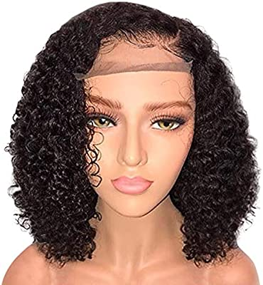 Glueless Deep Wave Lace Front Wigs 20 inch Unprocessed Brazilian Virgin Human Hair Wig Pre Plucked Natural with Baby Hair Wig for Black Women (Black 2)